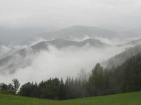 Mountains and mist looking towards Crna Na Koroskem - as seen from a road near Breg House