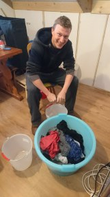Powercut meant we had to hand wash. Andy even wrung out my boxers; that's true Brokeback Breg