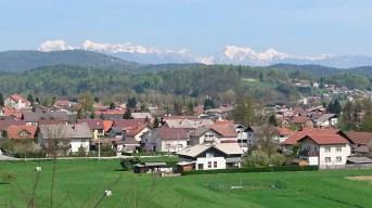 Snowcapped mountains, edge of Ljubljana