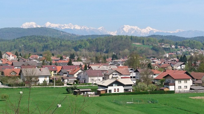Snowcapped mountains, edge of Ljubljana